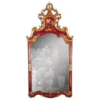 French Chinoiserie Style Mirror by Maison Jansen For Sale