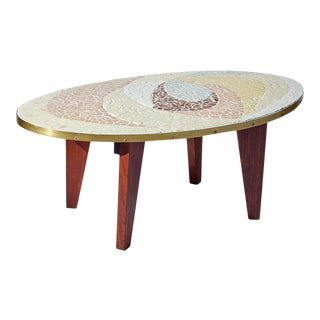 Mid Century Modern Broken Pottery Mosaic Coffee Table For Sale