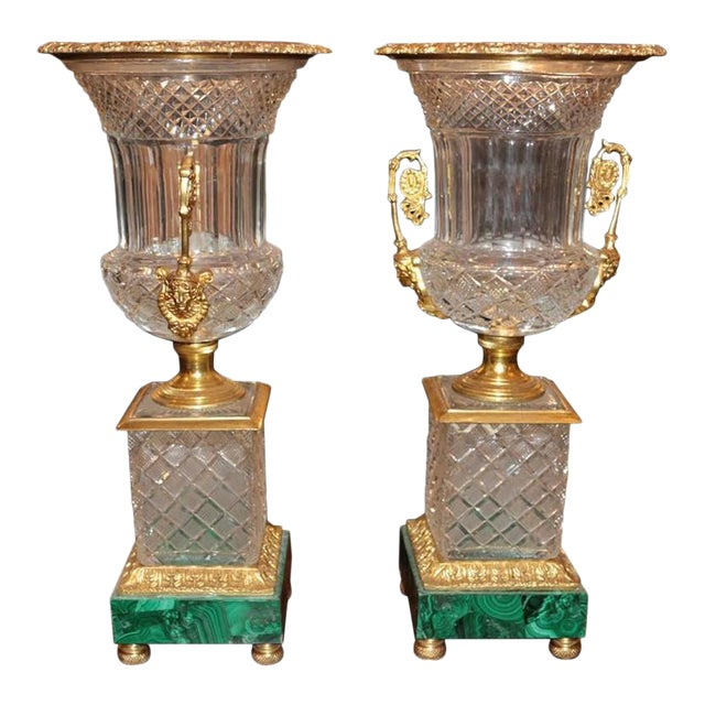 Neoclassical Style Cut Glass Bronze & MalachiteUrns - A Pair - Image 1 of 7