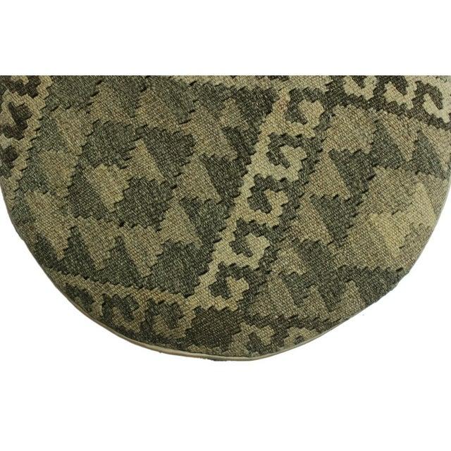 Arshs Deana Lt. Gray/Drk. Gray Kilim Upholstered Handmade Ottoman For Sale In New York - Image 6 of 8