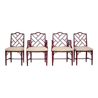 1960s Vintage W & J Sloane Red Lacquered Faux Bamboo Chippendale Chairs- Set of 4 For Sale