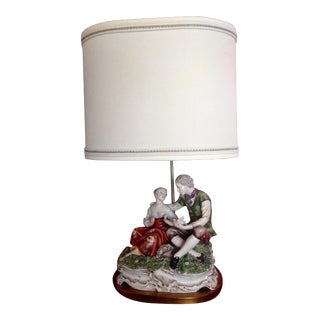 1970s Marbro Porcelain Figurative Couple and Bird Table Lamp For Sale