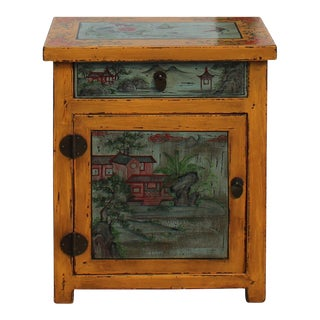 Chinese Oriental Distressed Yellow Gray Graphic End Table Nightstand