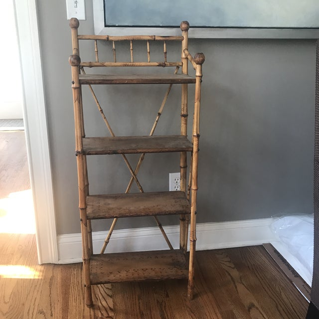 Versatile, chic vintage bamboo shelving unit. Perfect for a powder room or other small space. Circa early 1900s. Purchased...