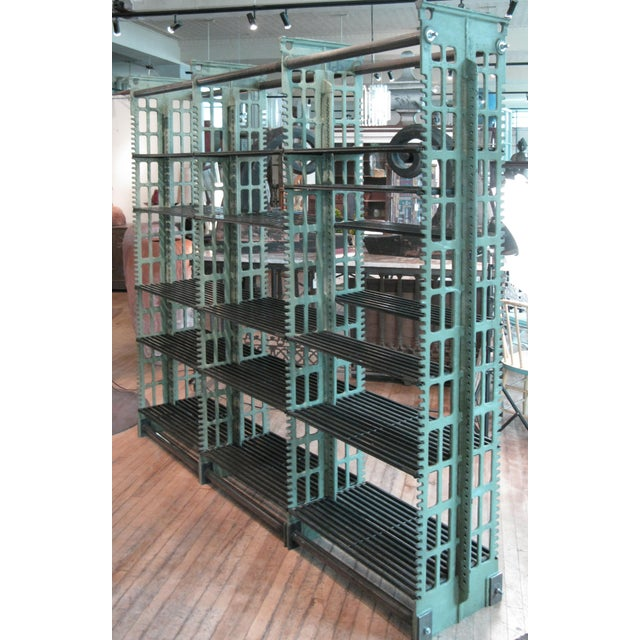 Metal Pair of Antique Cast Iron Archival Library Bookcases by Snead For Sale - Image 7 of 10