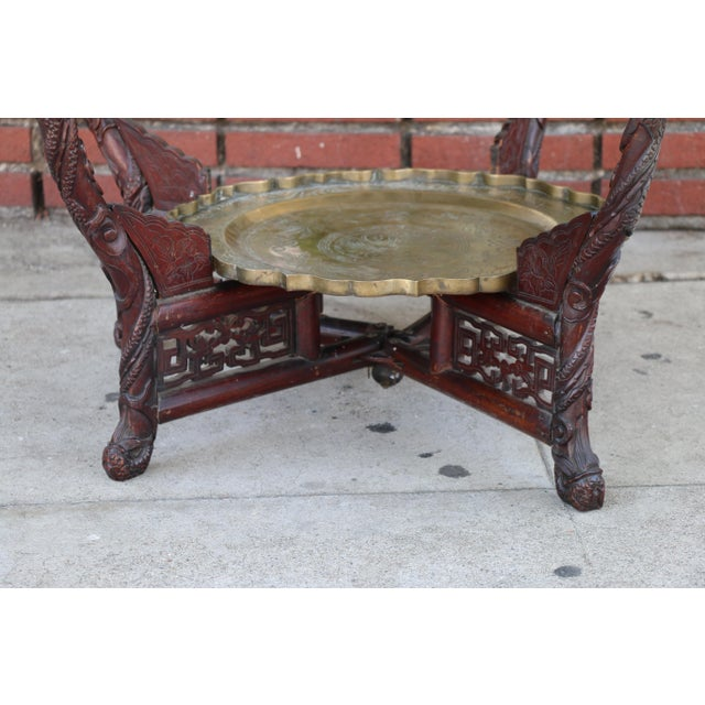 Antique Chinese 2 Tier Brass Center Table For Sale - Image 10 of 12
