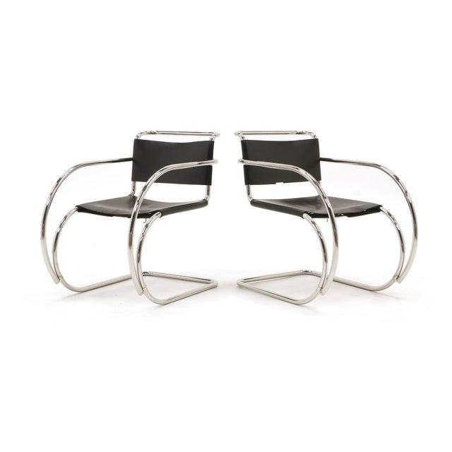 1960s Set of Four Black Leather MR 20 Lounge Chairs with Arms by Mies van der Rohe For Sale - Image 5 of 12