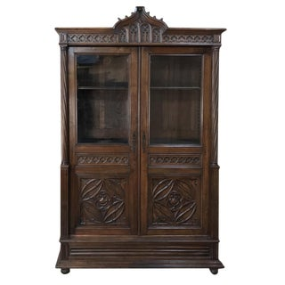 19th Century French Walnut Gothic Bookcase For Sale