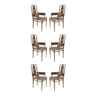 Austrian Secessionist Brown Leather Arm Chairs - Set of 6 For Sale