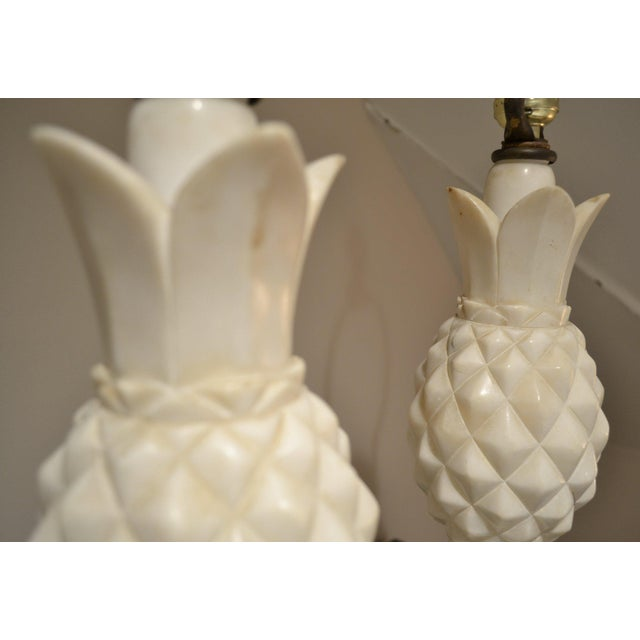 Stone 1950s Italian Alabaster Pineapple Lamps - a Pair For Sale - Image 7 of 12