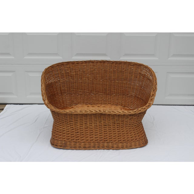 Brown 1970s Vintage Woven Rattan Wicker Settee For Sale - Image 8 of 8