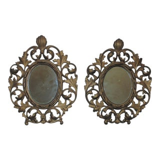 Antique 19th Century French Rococo Style Gilt Metal Picture Photo Frames / Wall Mirrors For Sale