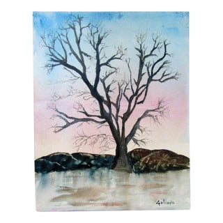 """""""Tranquil Winter Tree by Frozen Lake"""" Original Watercolor Painting For Sale"""