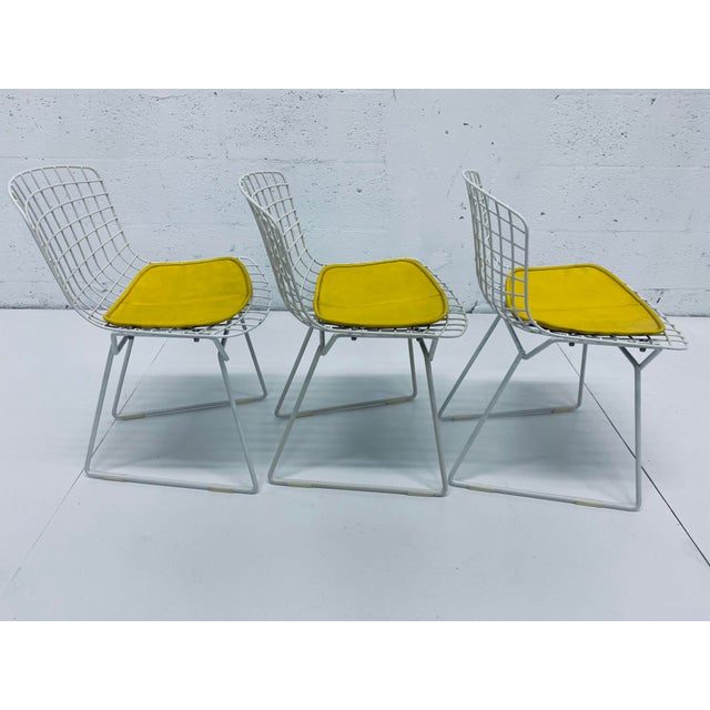 Set Of Three Harry Bertoia Children S Wire Chairs With Yellow Seats For Knoll Chairish