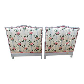 Custom Country French Style Pair of Painted and Upholstered Twin Size Headboards For Sale