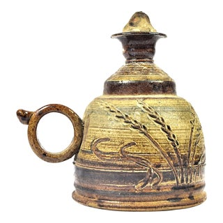 Vintage Handmade Pottery Oil Lamp With Original Wick For Sale