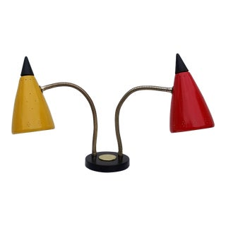 Mid-Century Double Gooseneck Adjustable Desk Lamp For Sale