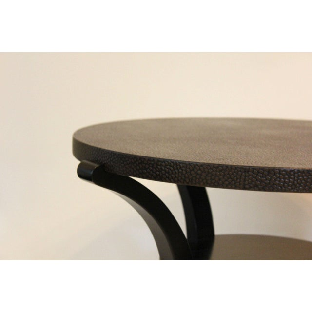 Early 21st Century Contemporary Round End Tables With Emu Leather Tops - a Pair For Sale - Image 5 of 6
