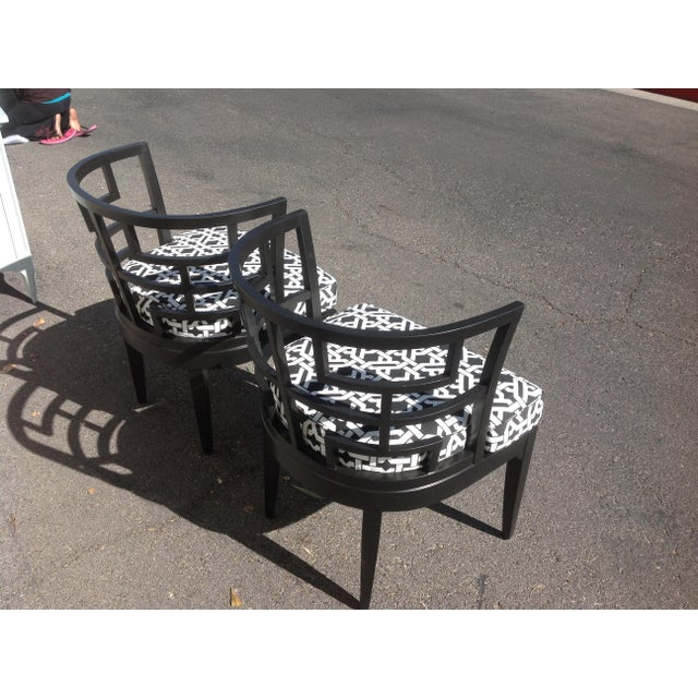 Pop of Black Barrel-Back Chairs - A Pair - Image 6 of 7