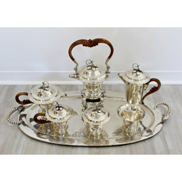 For your consideration is a Monumental seven piece, sterling silver tea & coffee service set, made in Mexico 1970's. In...