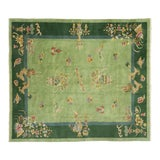 Image of Green Antique Chinese Art Deco Rug - 7′8″ × 8′9″ For Sale