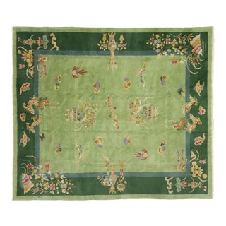Green Antique Chinese Art Deco Rug - 7′8″ × 8′9″ For Sale