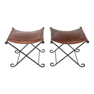 Pair of 1940s Art Deco Leather Seated Iron X Benches For Sale