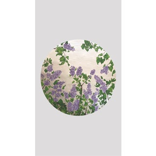 Tondi Fiori Collection Lilac Silver Circular Shaped Wallcovering On Orchid Tint For Sale