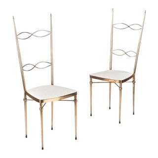 Pair of Mid-Century Italian Brass Chairs, 1960s