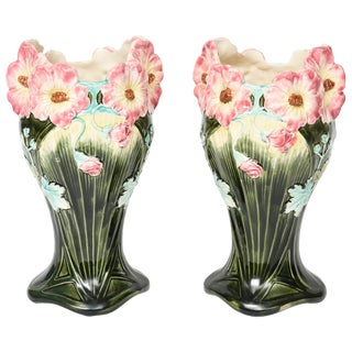 20th Century Art Nouveau Tall Pink and Green Floral Majolica Vases - a Pair