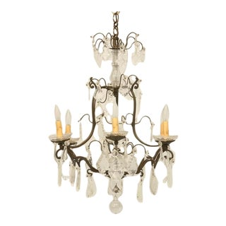 c.1920 French Crystal 6-Light Chandelier For Sale