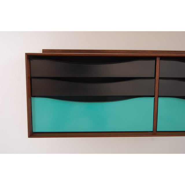 Vintage Mid Century Modernist Walnut and Metal Wall Hanging Cabinet For Sale In Providence - Image 6 of 8
