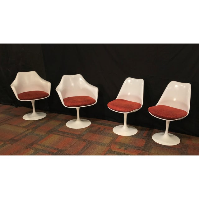 Mid-Century Modern Eero Saarinen Oval Dining Table & Swivel Chairs - 5 Pieces. Mid-Century, Knoll For Sale - Image 3 of 12