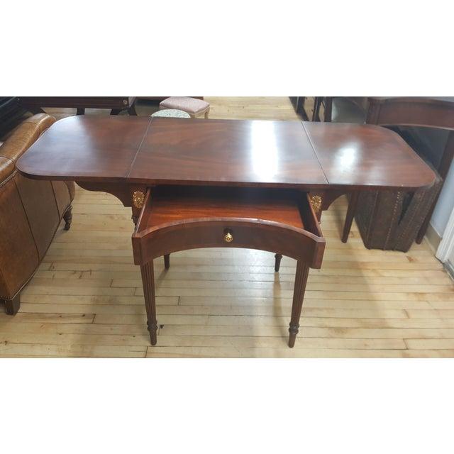 Hollywood Regency Maitland Smith Mahogany Pembroke Table For Sale - Image 3 of 12