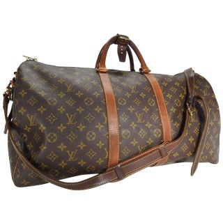 Louis Vuitton Classic Keepall Leather Monogram Travel Bag For Sale