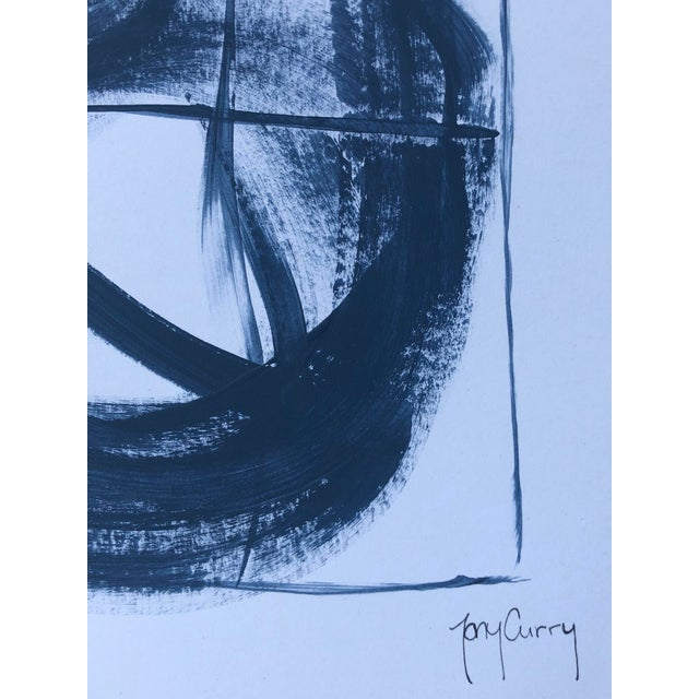 """Artist: Tony Curry Modern Painting Titled: """"Blue Abstract"""" Hand Signed Original Painting on Professional Fine Art Paper..."""