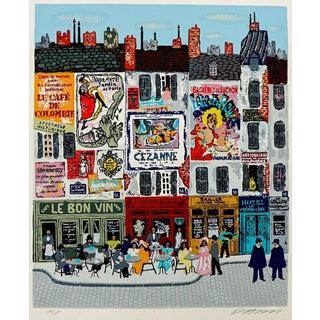 Paris Street Scene Serigraph by Josef Farhi For Sale