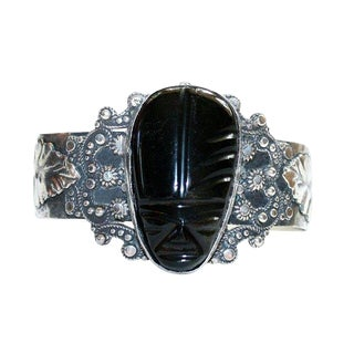C.1940s Sterling and Onyx Mask Bracelet For Sale