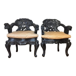 Carved Dragon Chairs - a Pair