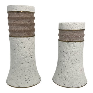 1980s Blush and White Plaster and Brass Candle Holders- a Pair For Sale