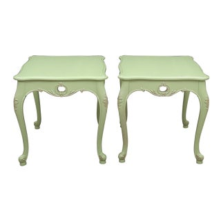 1970s Queen Anne Apple Green Side Tables - a Pair For Sale