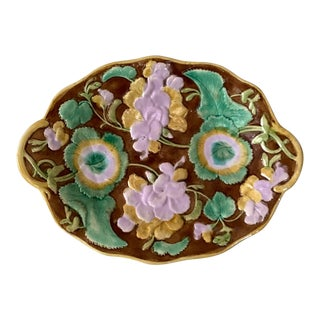 Late 19th Century English Majolica Geranium Oval Platter For Sale