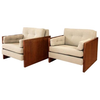 Pair of Milo Baughman-Style Walnut Cube Lounge Chairs For Sale
