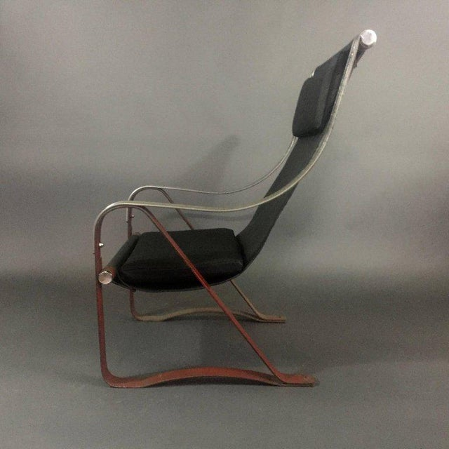 Black 1930s McKay Craft Leather and Steel Sling Chair For Sale - Image 8 of 8