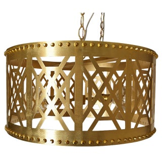 "20"" Brass Fretwork Pendant Light For Sale"