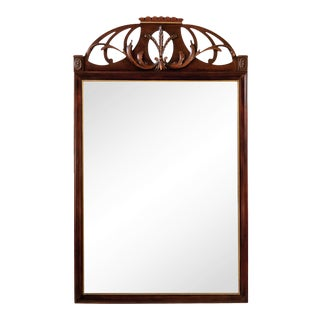 Carved Mahogany Parcel Gilt Wheat Sheaf Coronet Crest Mirror For Sale