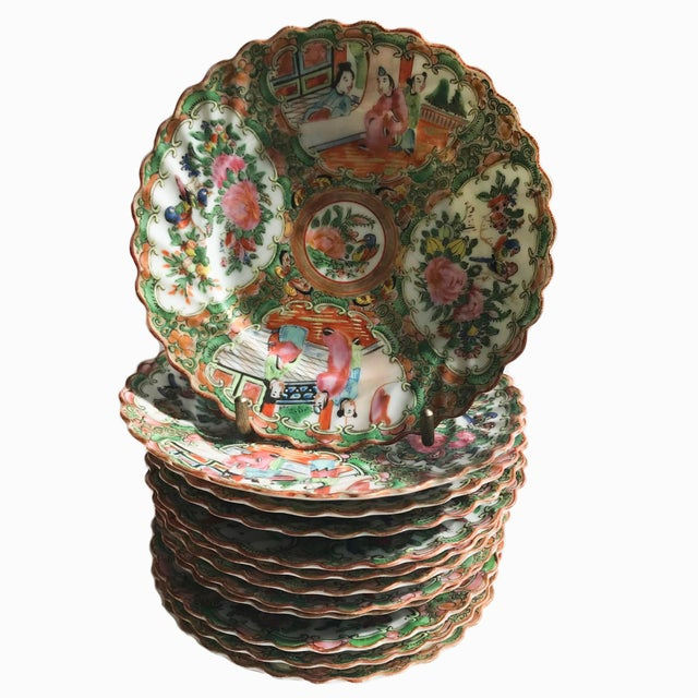 19th Century Chinese Export Rose Medallion Porcelain - Set of 12 Saucers For Sale - Image 9 of 10