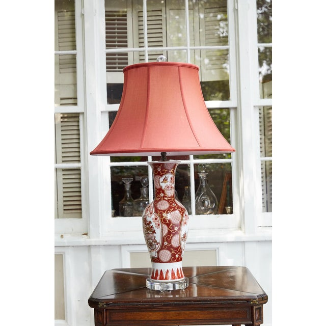 Vintage Japanese Imari Lamp in Red and Gold For Sale In Atlanta - Image 6 of 11