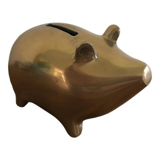 Vintage Mid Century Brass Piggy Bank For Sale