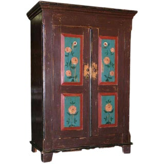 Folk Art Painted Armoire, Circa 1850 For Sale